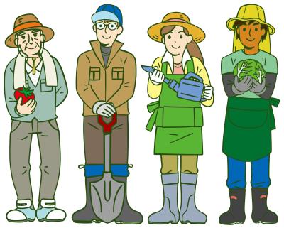 農家で働く4人の方々