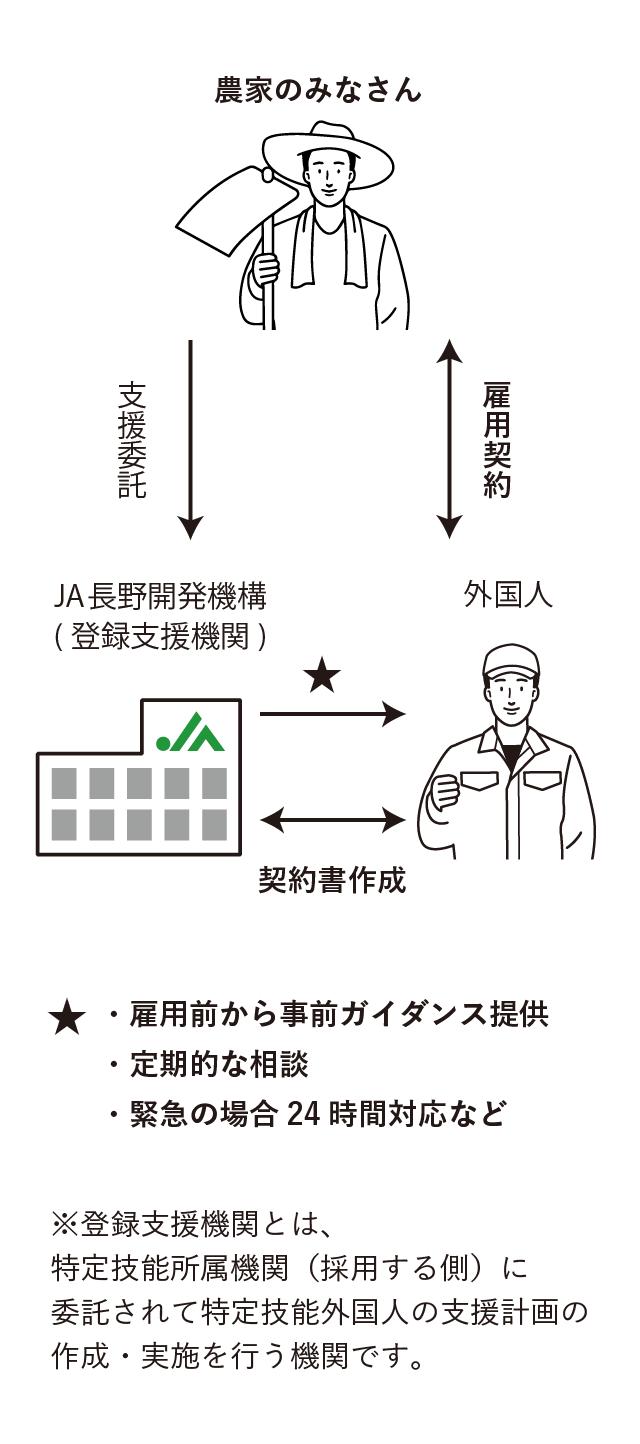 農家の皆さん、JA長野開発機構、外国人の関係図