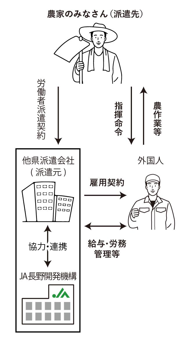 農家の皆さん、JA長野開発機構と他県派遣会社、外国人の関係図